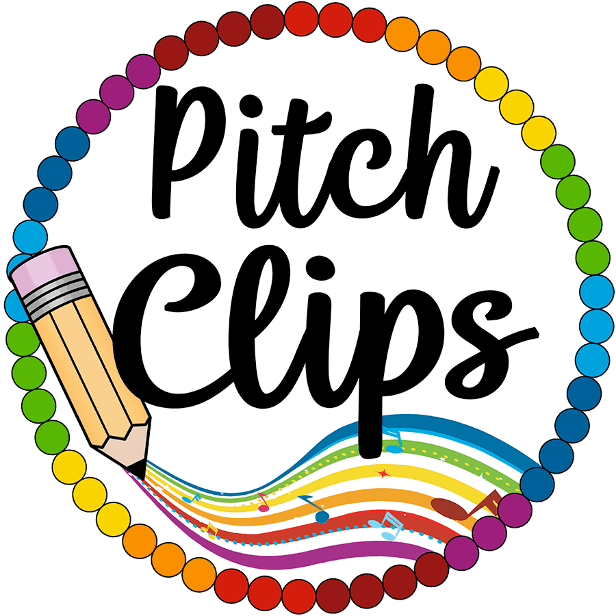 This is the logo of Pitch Clips Graphics. It is a circle made of colorful dots with a pencil.