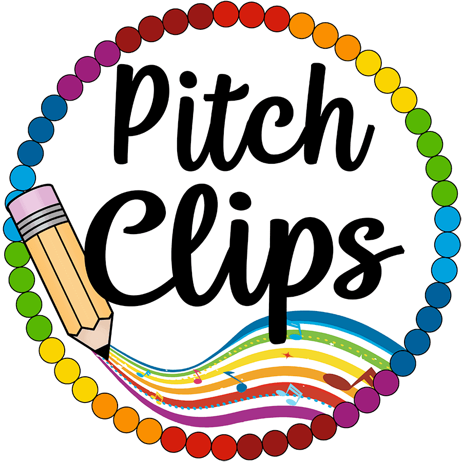"""The logo of Pitch Clips - a circle with rainbow colored dots with a rainbow and pencil and words """"Pitch Clips"""""""