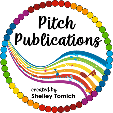 This is the logo of Pitch Publications. It is a polkadotted outlined circle with rainbow music notes.