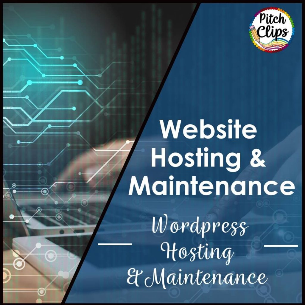 """Picture of someone working on a computer with the words """"Website Hosting and Maintenace"""""""