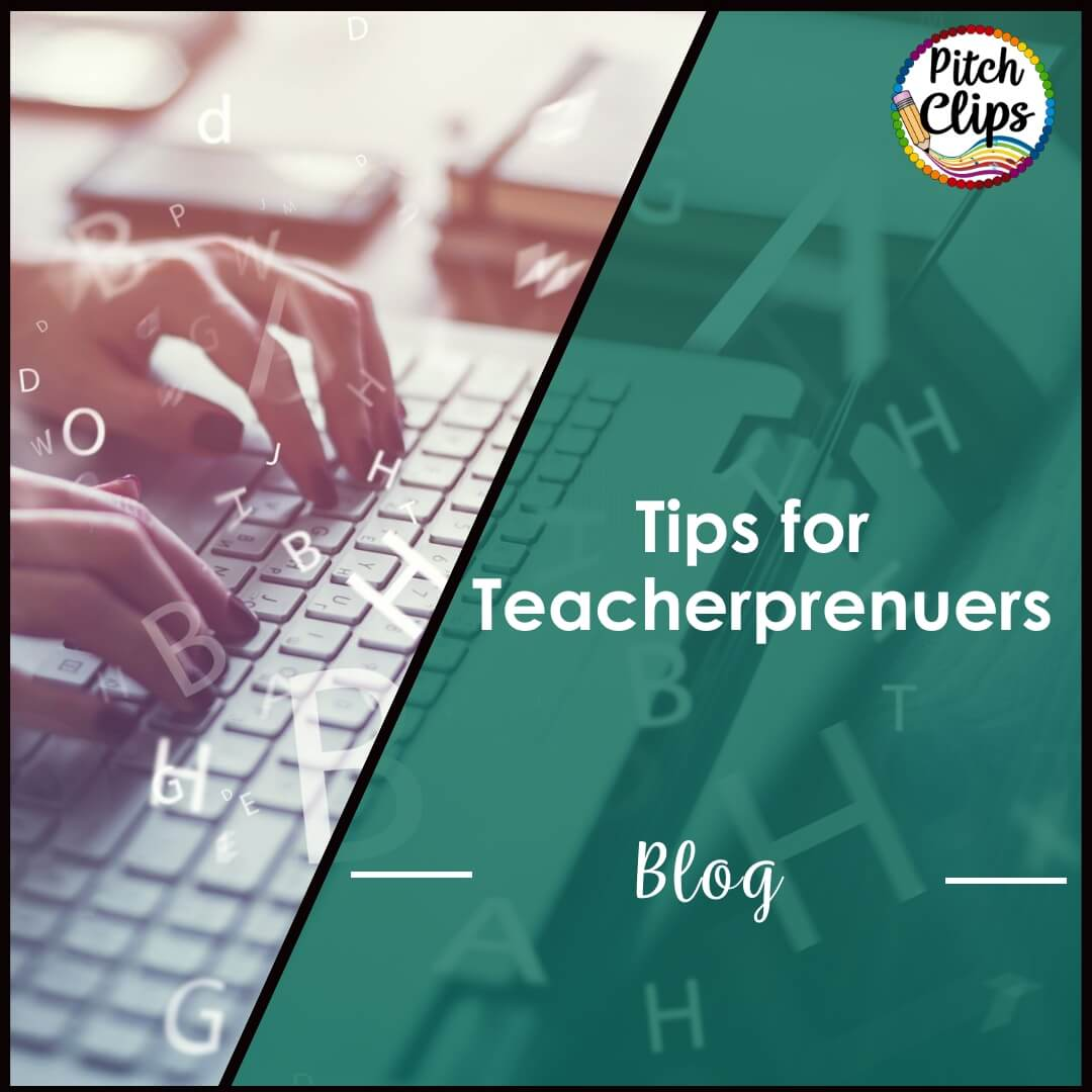 "This is a picture of a person working on the computer with the text ""Tips for Teacherprenuers Blog"""