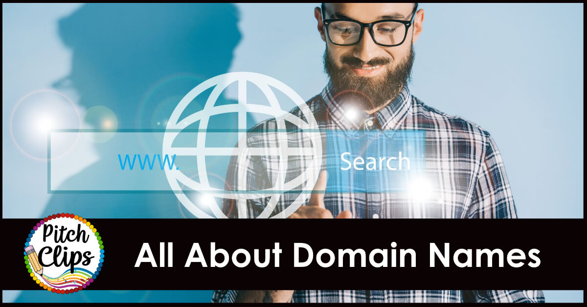 """picture of someone searching the world wide web with text """"All About Domain Names"""""""