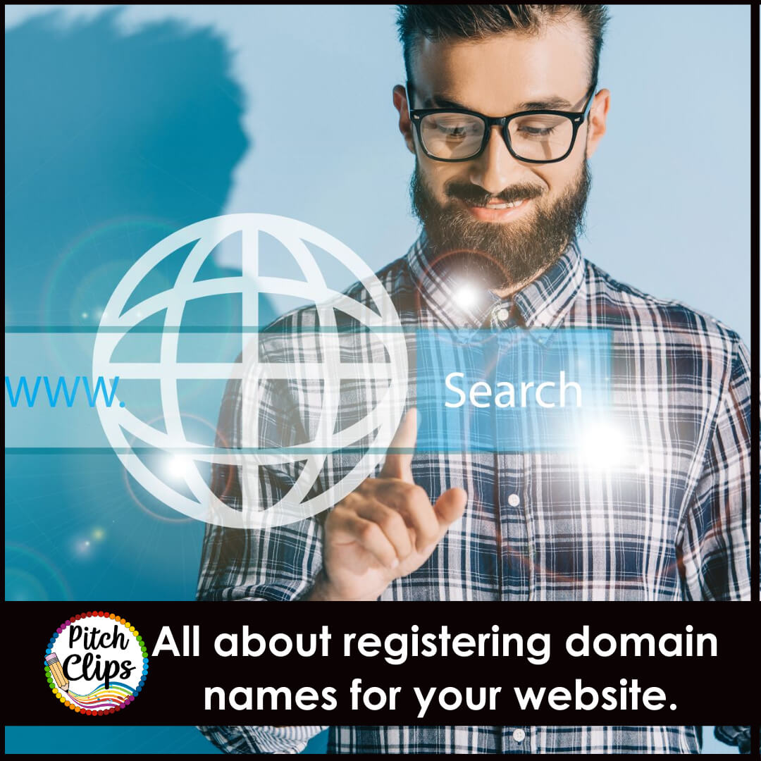 "picture of man searching with text ""All about registering domain names for your website."